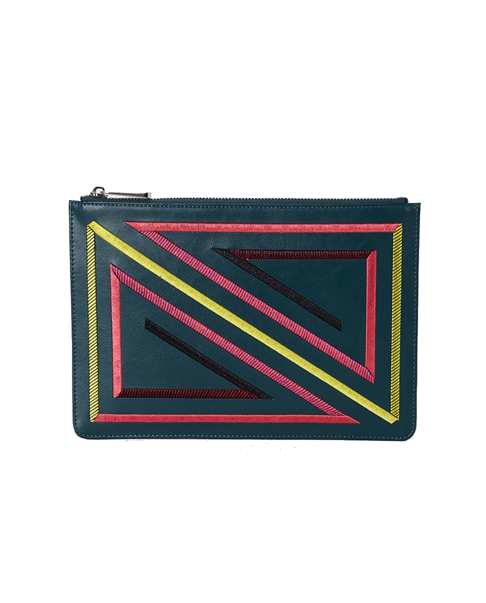 geometric embroidered clutch