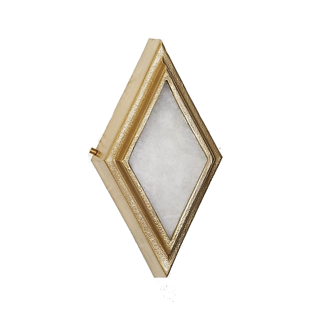 brass + alabaster diamond wall sconce