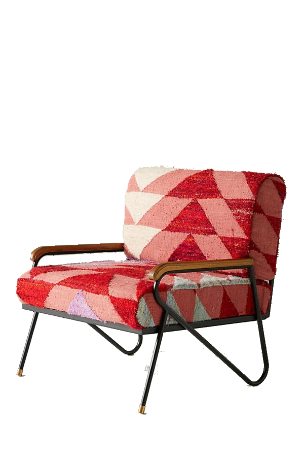 triangle silk rug accent chair