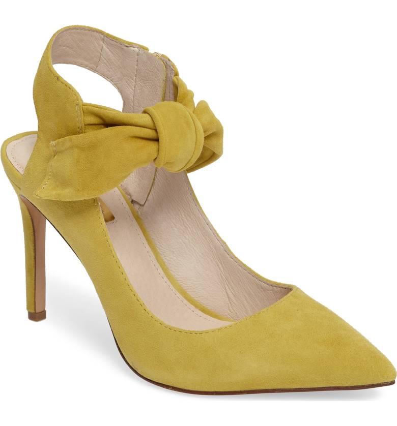 mustard suede heels
