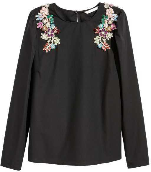 black cotton blouse with rhinestones