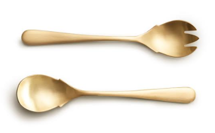 matte gold serving fork + spoon
