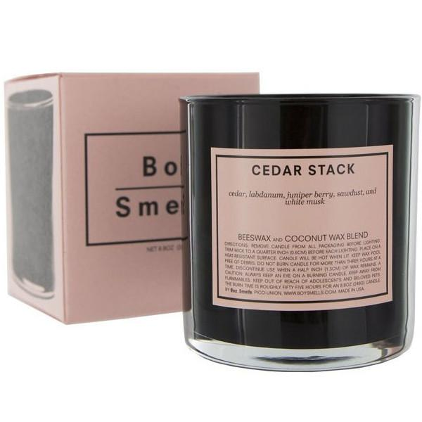 boy smells 'cedar stack' candle