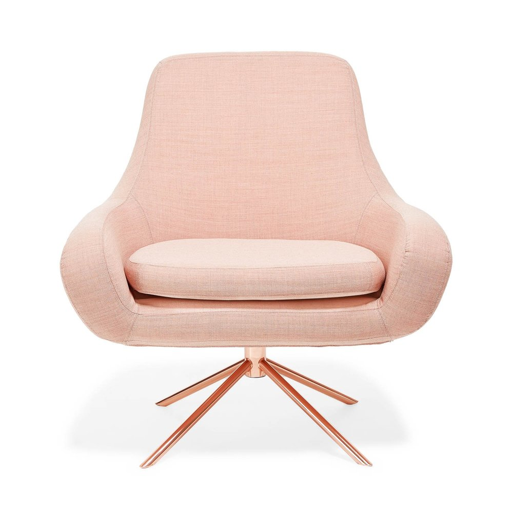 blush upholstered chair