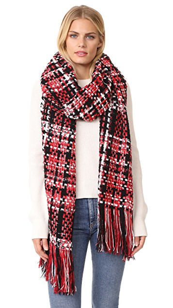 black, red + white plaid scarf