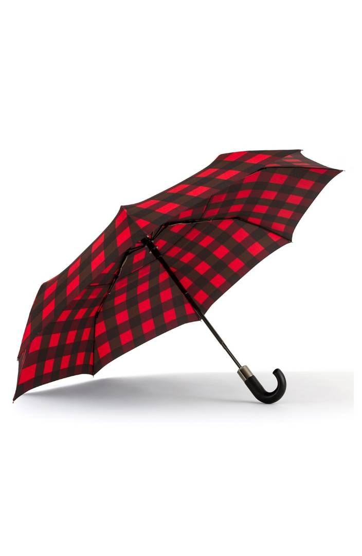 red + black plaid umbrella