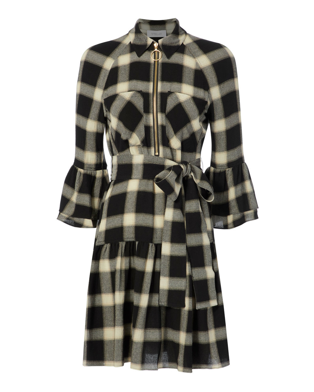 black + white plaid dress