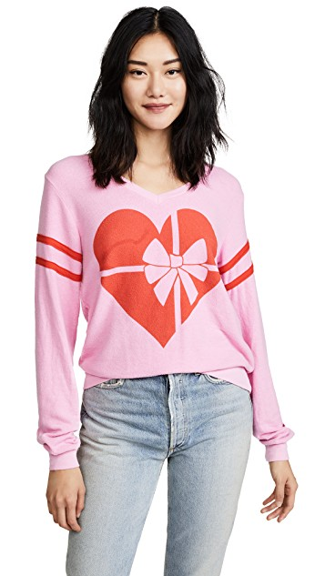 pink + red ribbon heart tee