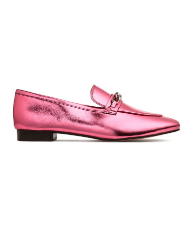 metallic pink leather loafers