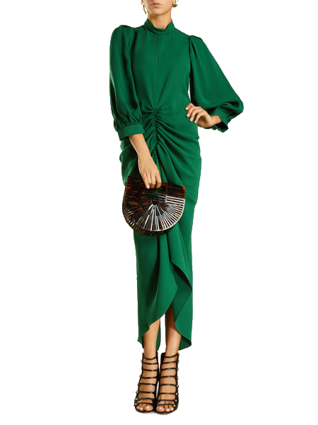 emerald ruched silk dress