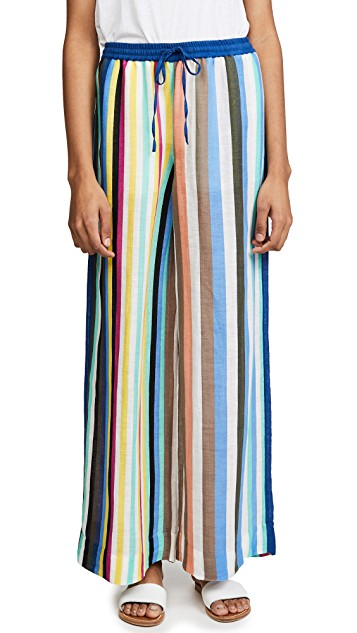 dvf linen striped beach pants