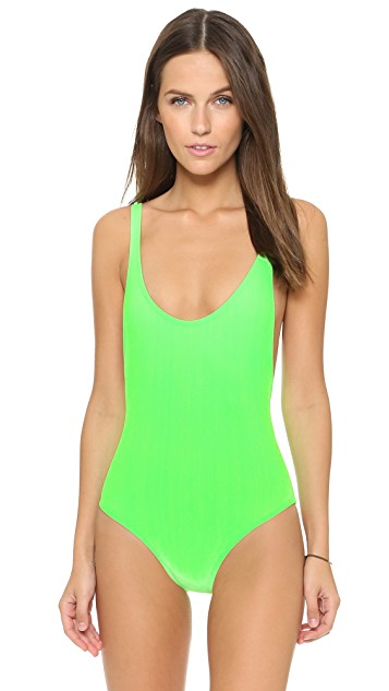 neon green one-piece swim suit