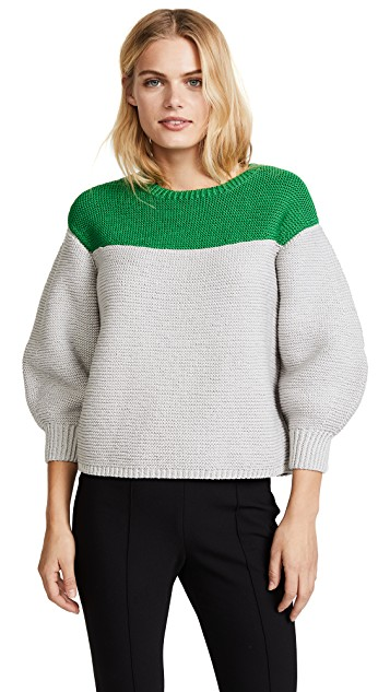 green + gray colorblock sweater