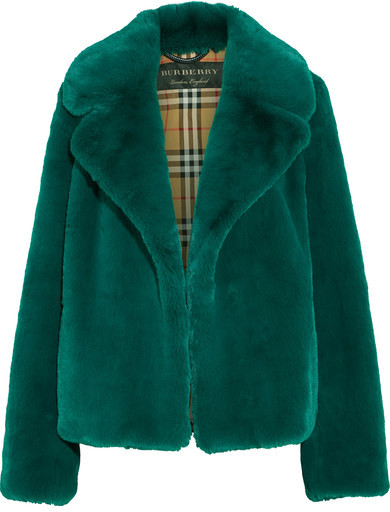 burberry green faux fur coat
