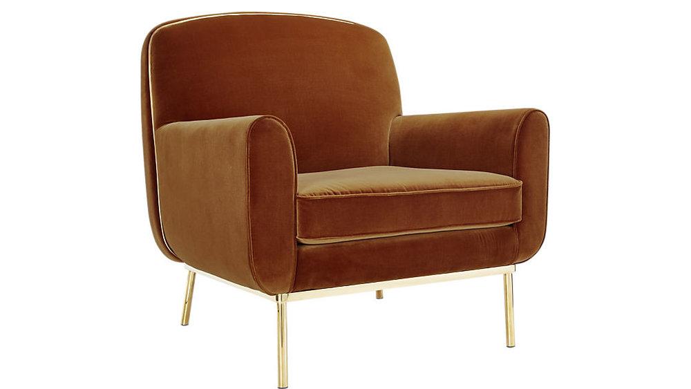 brass + velvet armchair