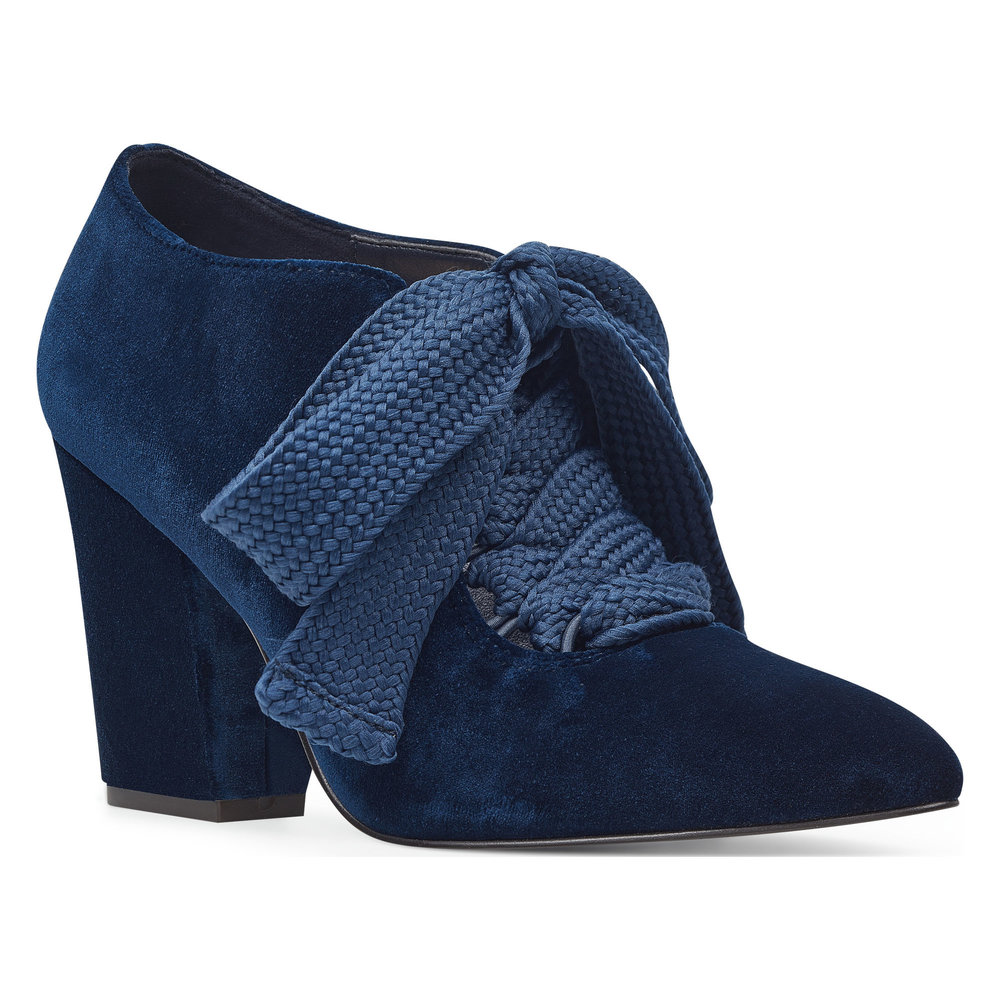 navy velvet lace-up booties