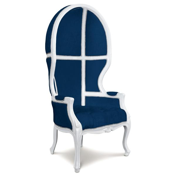 navy velvet balloon chair