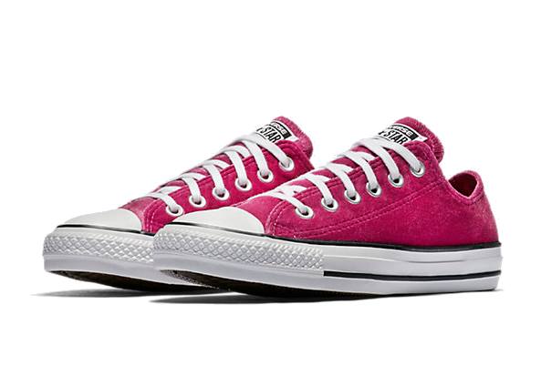 pink velvet converse low top sneakers