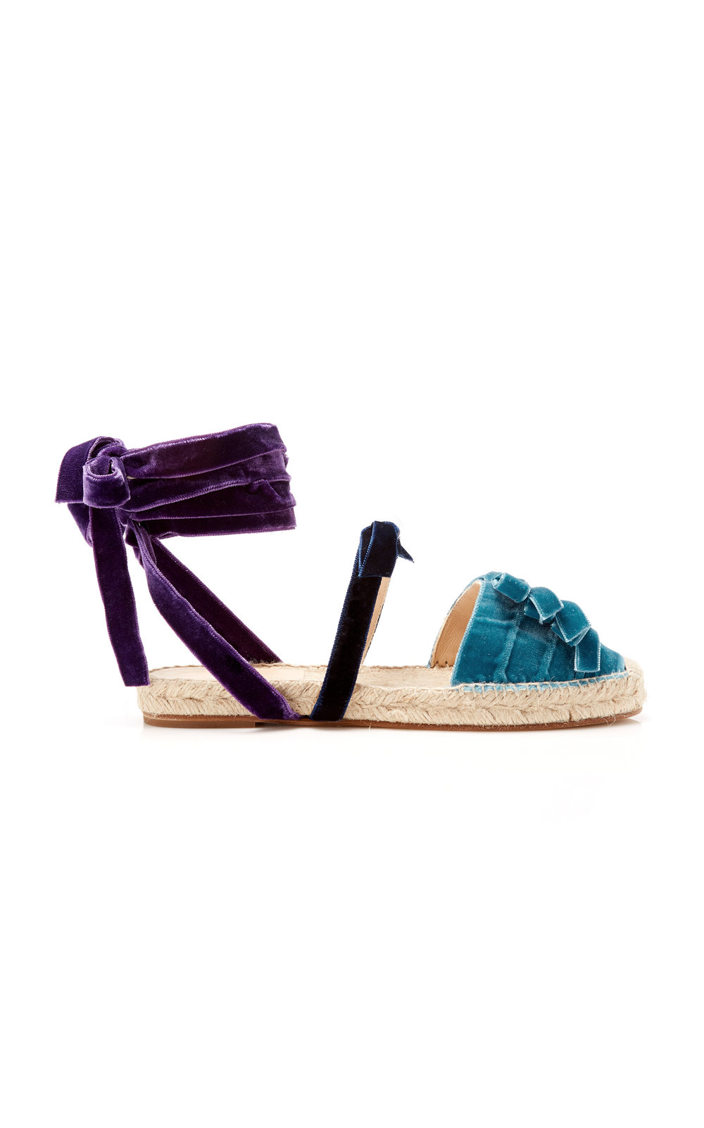 blue + purple velvet espadrilles