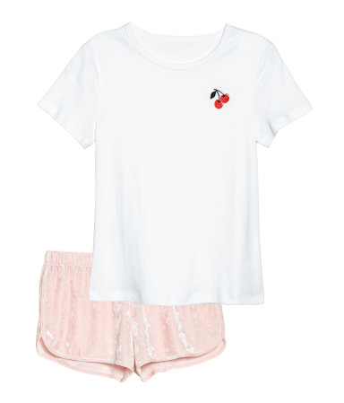 h&m pajama velour short set