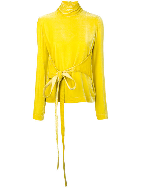 yellow velvet turtleneck blouse