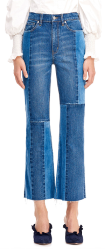 velvet patch cropped jeans
