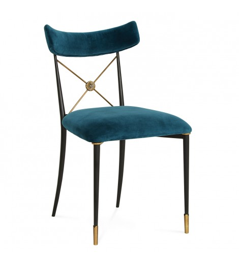 jonathan adler teal velvet dining chair