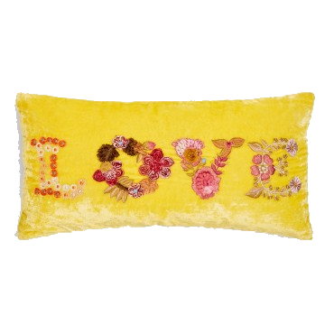 anke drechsel velvet yellow love pillow