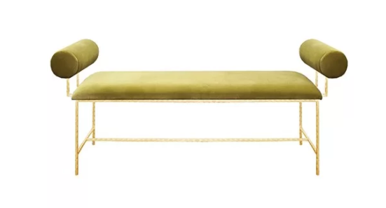 green velvet + brass bench
