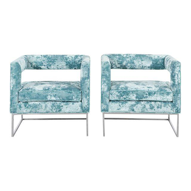 vintage milo baughman velvet chairs