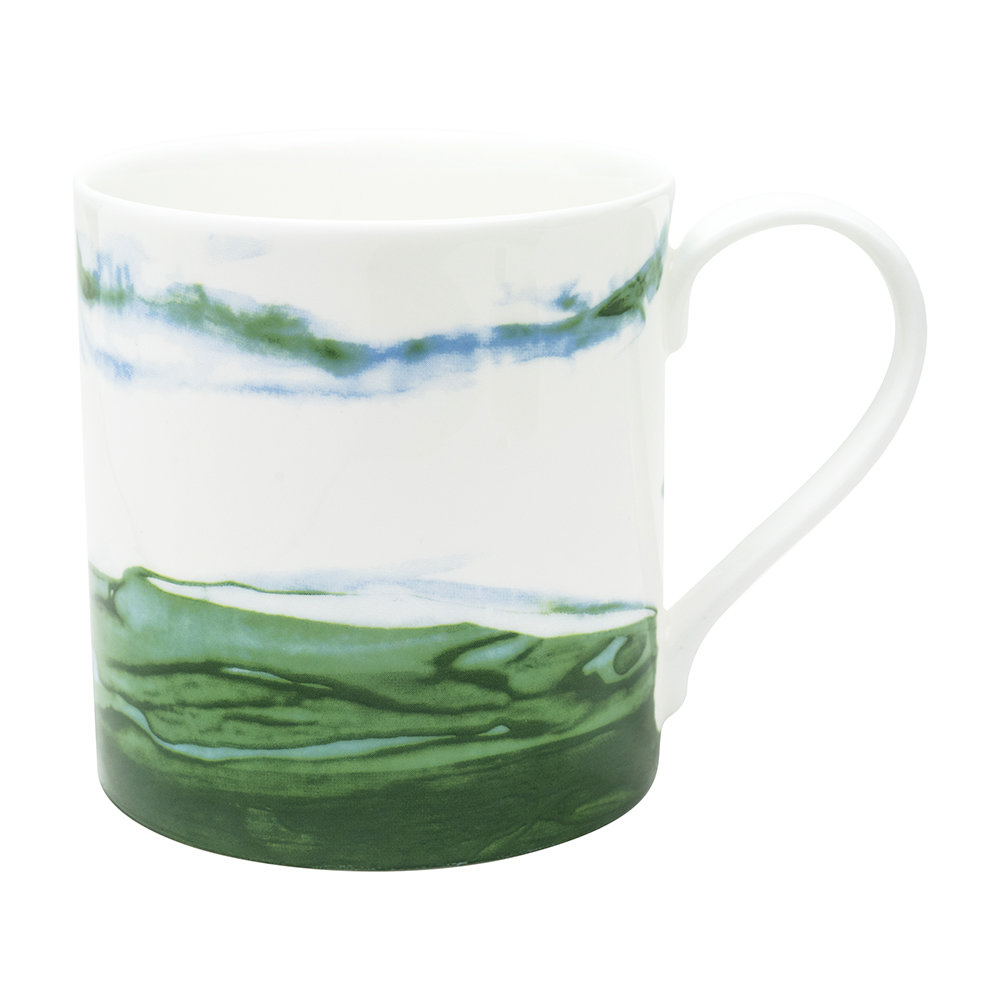 white + green mug