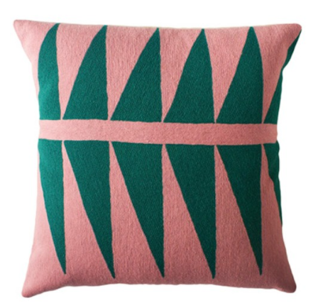 pink + green wool palm print pillow