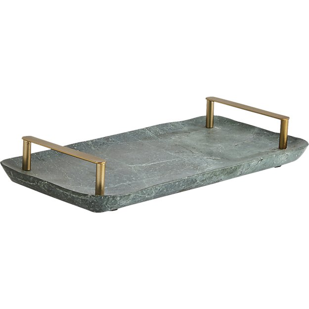 cb2 green marble tray