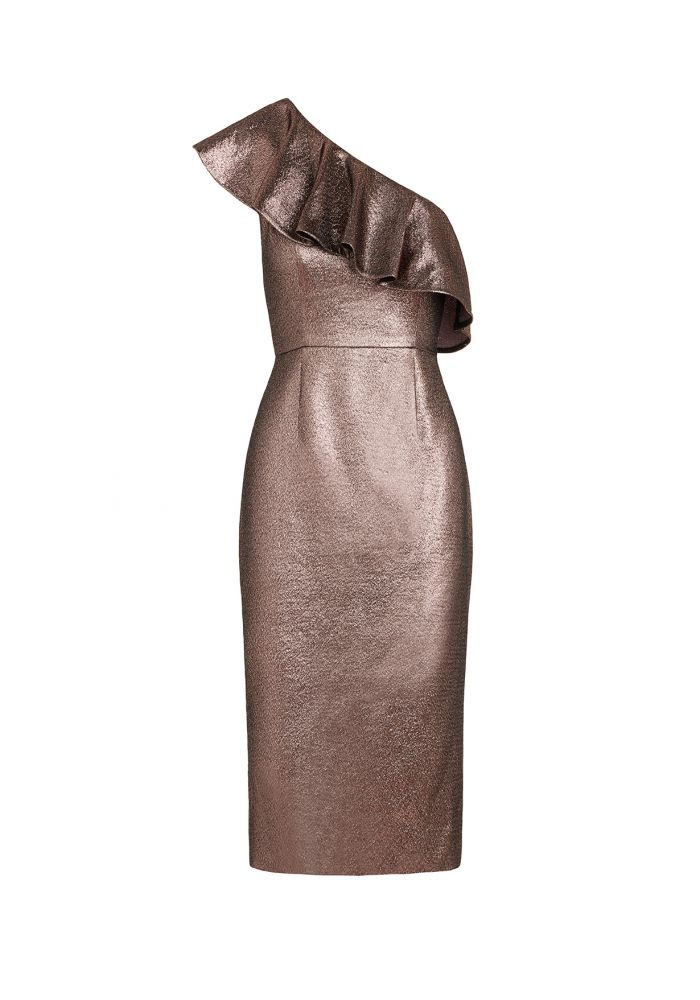 rachel zoe bronze metallic dress