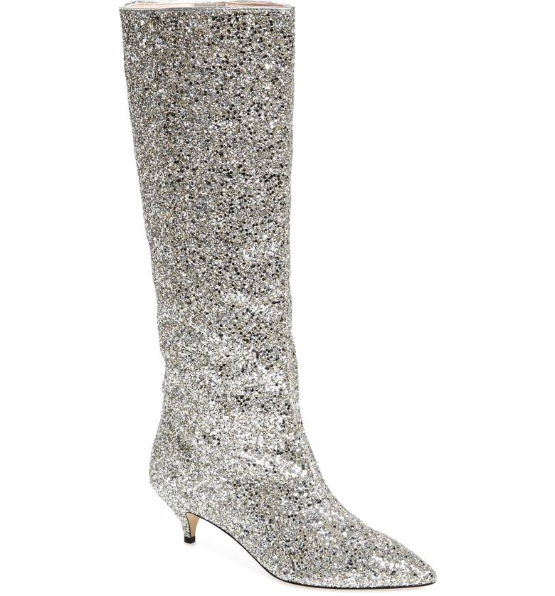 kate spade silver glitter boot