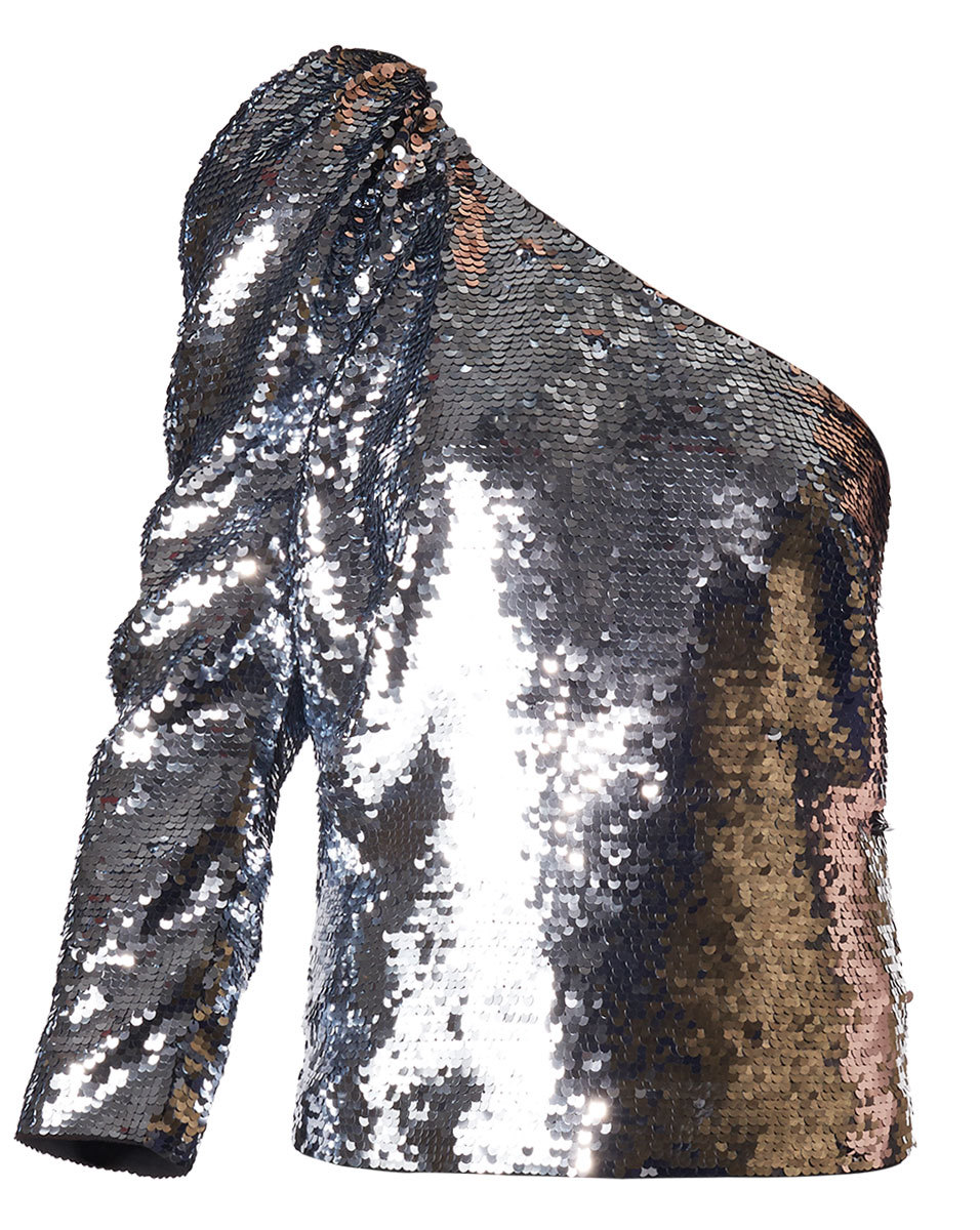 veronica beard silver sequin top