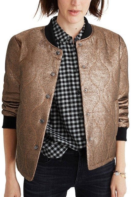 madewell metallic gold bomber jacket