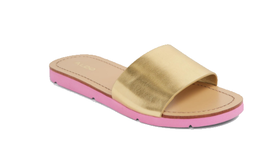 gold slide shoe with pink sole