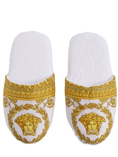versace gold + white slippers