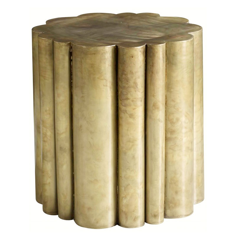 scalloped brass side table