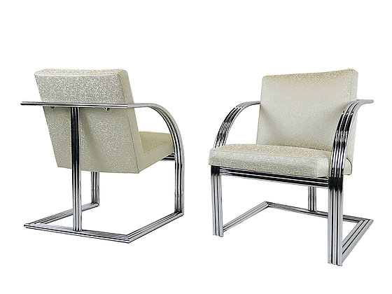 pair chrome milo baughman chairs