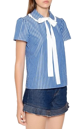 bow collar striped blouse