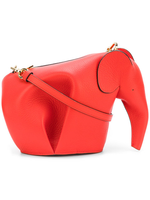 loewe red leather elephant bag