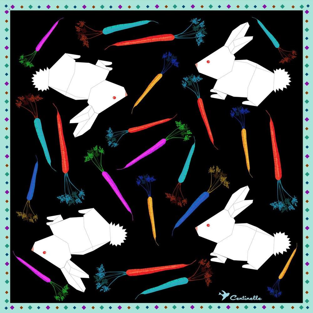 origami bunny silk scarf