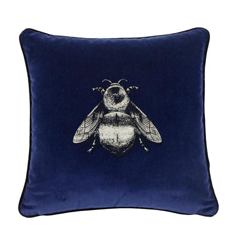 navy bee velvet throw pillow