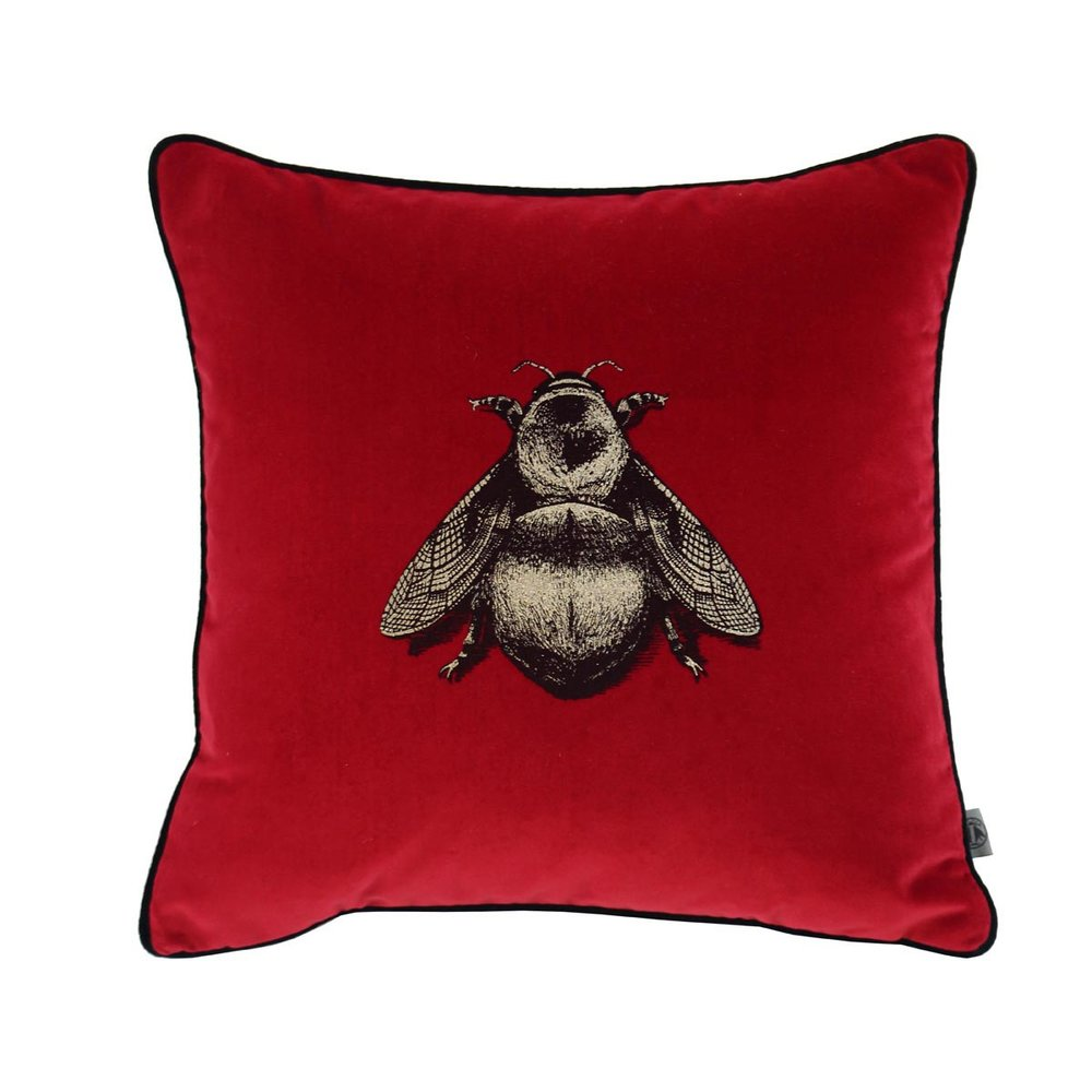 red bee velvet throw pillow