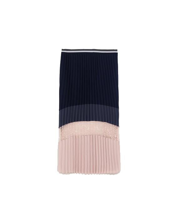 zara black + blush pleated skirt