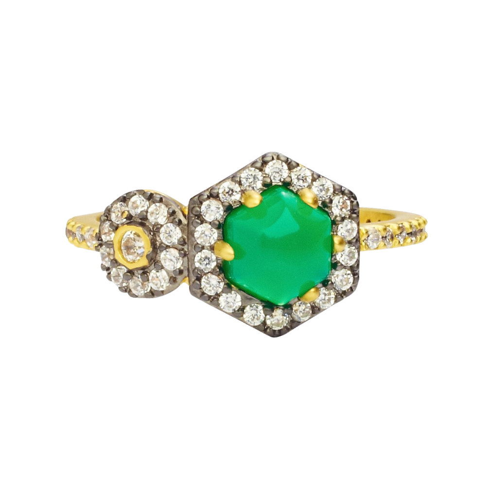 vintage deco green statement ring