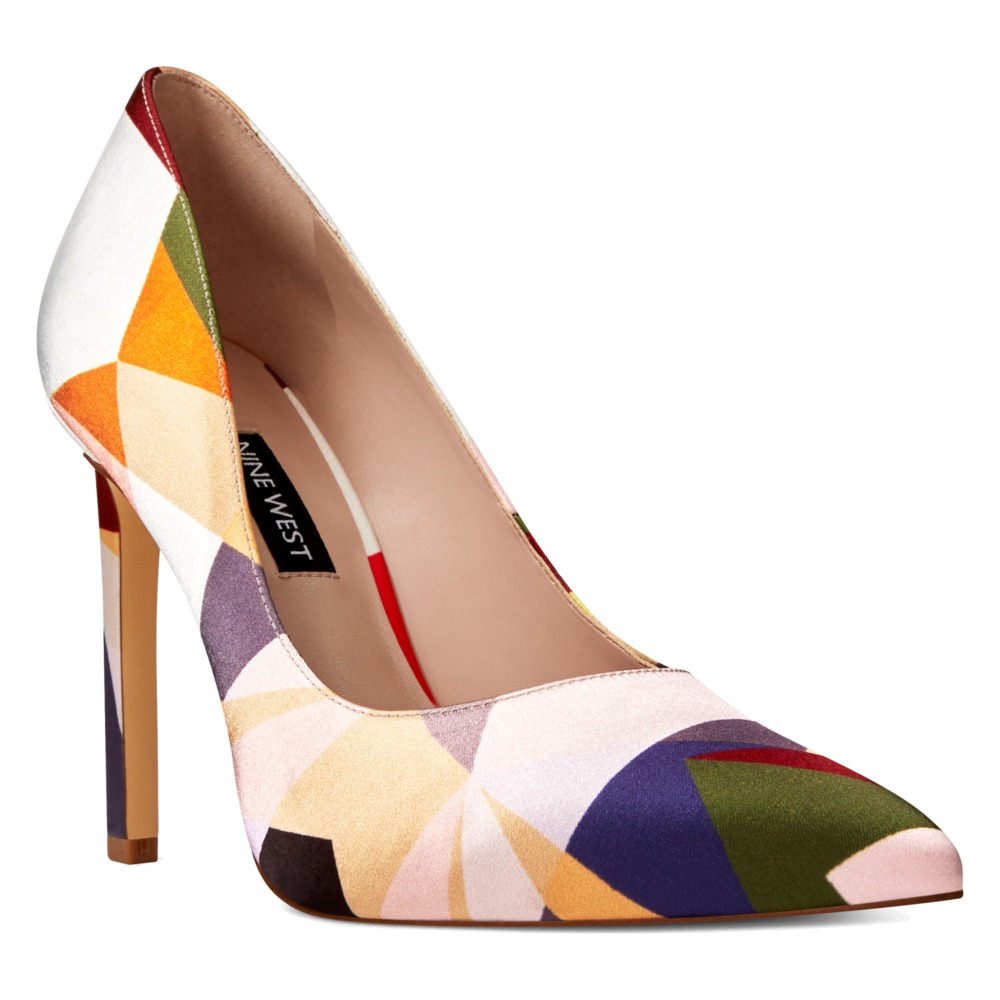 multi colored geo print silk pumps