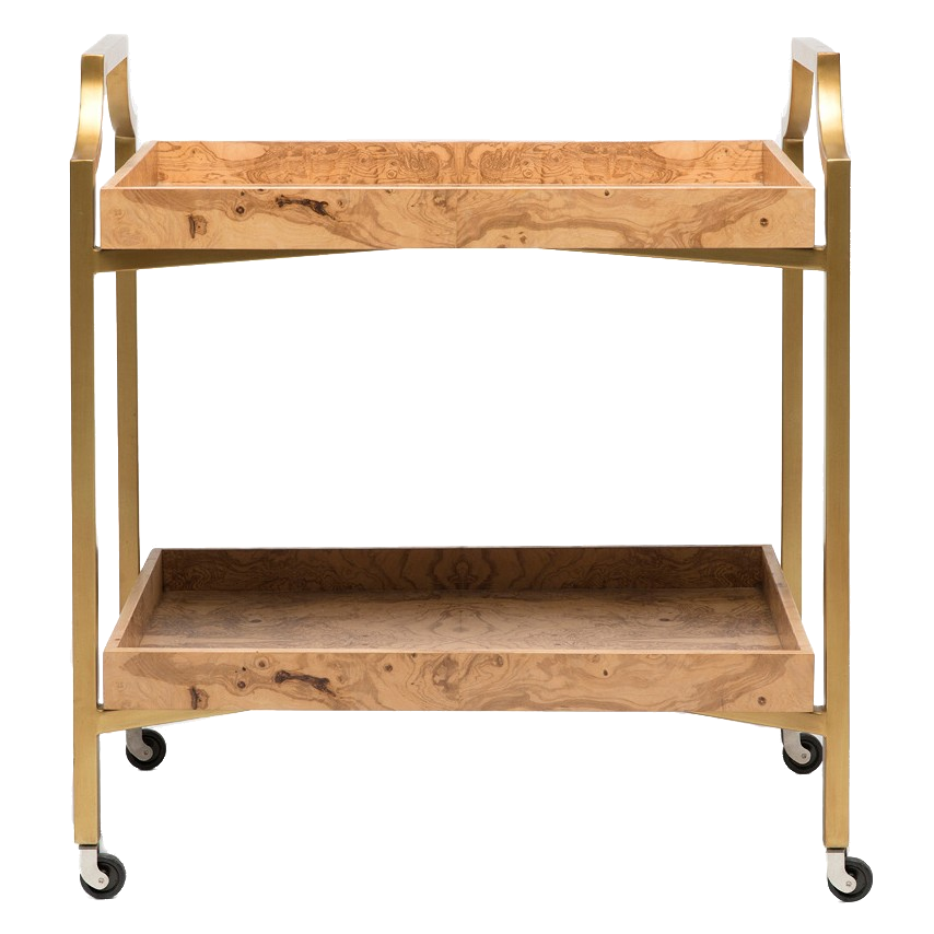 wood + brass bar cart